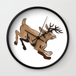 Jacklope Jumping Side Etching Wall Clock