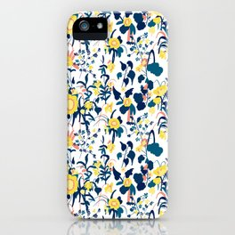 Buttercup yellow, salmon pink, and navy blue flowers on white background pattern iPhone Case