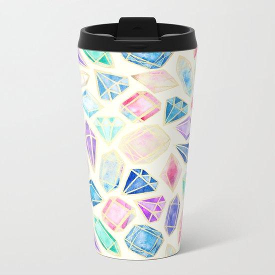 Watercolor Gems Intense Metal Travel Mug