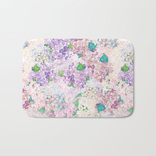 Pastel Purple and blue Lilac & Hydrangea - Flower Design Bath Mat