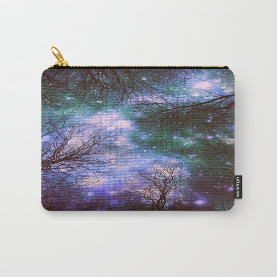 Black Trees Purple Green Space Carry-All Pouch