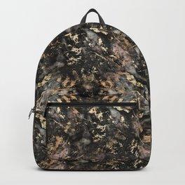 Gold Vein Black Marble Design Backpack
