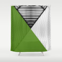 Black White and Grassy Green Shower Curtain