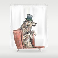 hat Shower Curtains featuring Top Hat by Meredith Mackworth-Praed