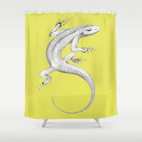 lizard Shower Curtains featuring Lizard by Federico Cortese