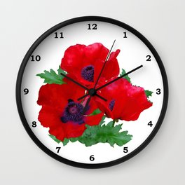 Red oriental poppies Wall Clock