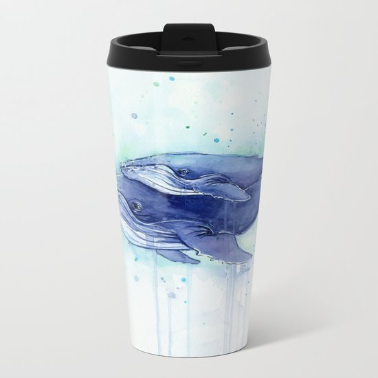 Humpback Whale Watercolor Mom and Baby Painting Whales Sea Creatures Metal Travel Mug