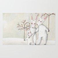bunnies Area & Throw Rugs featuring Bunnies by Arianna Usai