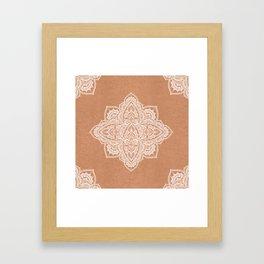 Modern boho terracotta floral mandala oriental pattern Framed Art Print