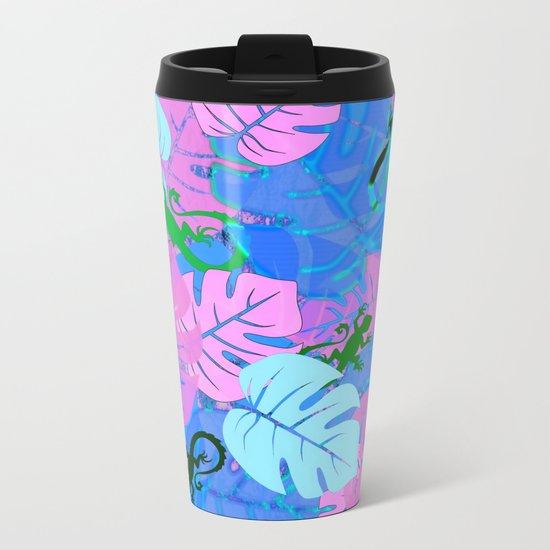 Monstera and Lizards in Blue Metal Travel Mug