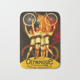 Vintage Olympique Bicycle Ad Bath Mat