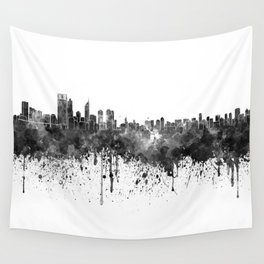 Perth skyline in black watercolor Wall Tapestry