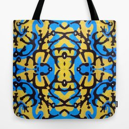 blue and yellow Tote Bag