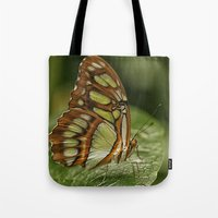 malachite Tote Bags featuring Malachite Butterfly by Cindi Ressler Photography