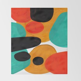 Mid Century Modern Abstract Minimalist Retro Vintage Style Rolie Polie Olie Bubbles Teal Orange Throw Blanket