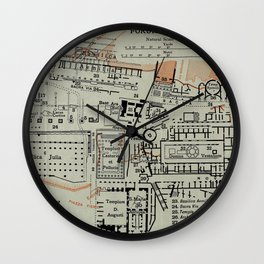 Vintage Map of The Roman Forum (1911) Wall Clock