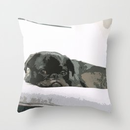 Black Pug Lying On The bed Throw Pillow