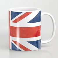 union jack Mugs featuring Union Jack by Laura Ruth