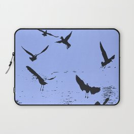 Silhouette Of A Flock Of Seagulls Over Water Vector Laptop Sleeve