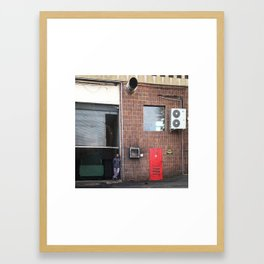 #Photo #226 The man, the pigeons and the red door Framed Art Print
