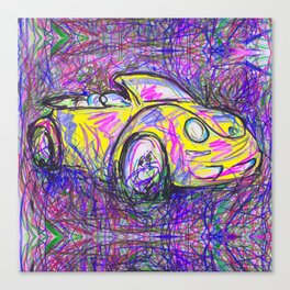 Expressive Bright Yellow V W Beetle created under the influence of Caffine by annmariescreations Canvas Print