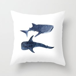 TWO WHALE SHARK Throw Pillow