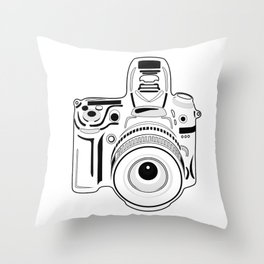 Black and White Camera Throw Pillow