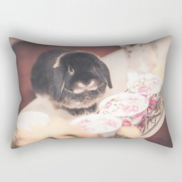Bunny Morgan with teacups Rectangular Pillow