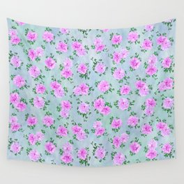 Pink Double Petunias over Blue Green Sm Wall Tapestry