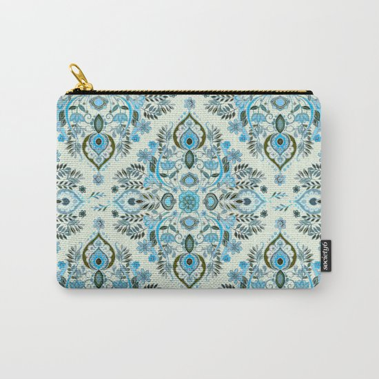 Modern Folk in Aqua and Umber Carry-All Pouch