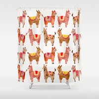 chile Shower Curtains featuring Alpacas by Cat Coquillette