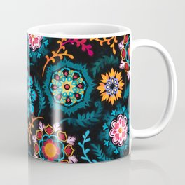 Suzani Inspired Pattern on Black Coffee Mug