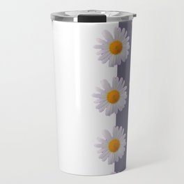 WHITE DAISIES & SPRING BUTTERFLIES & WHITE-GREY ART Travel Mug
