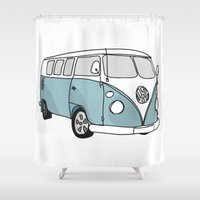 vw Shower Curtains featuring VW Camper by 1and9