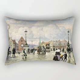 Paul Gustav Fischer - A Scene From Knippelsbro, Bridge In Copenhagen, When The Artist Was A Boy Rectangular Pillow