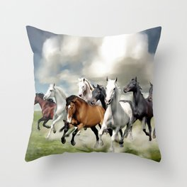 8 Horses Running Throw Pillow