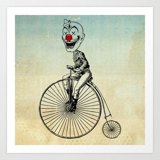 clown on a bike 02 Art Print