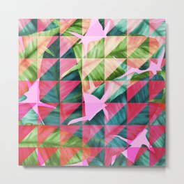 Abstract Hot Pink Banana Leaves Design Metal Print