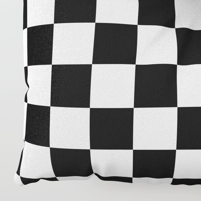 Checkered Black White Pattern Floor Pillow By Luxelab Society6