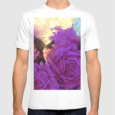 purple roses and light White MEDIUM Mens Fitted Tee