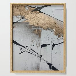 Still: an abstract mixed media piece in black, white, and gold by Alyssa Hamilton Art Serving Tray
