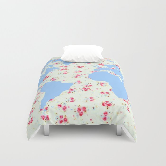 Floral world map with pretty vintage rose flowers background flower floral world map with pretty vintage rose flowers background flower art girly hipster globe print duvet cover by igalaxy society6 gumiabroncs Gallery