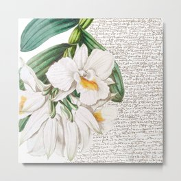 White Orchids Collage Metal Print