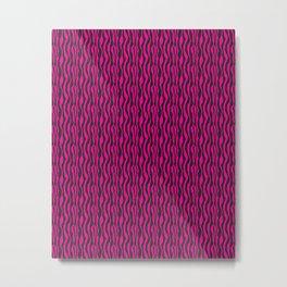 Hot Pink and Black Zebra Pattern Metal Print