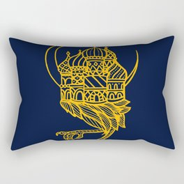 Baba Yaga Blue Gold Rectangular Pillow