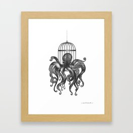 Octopus in a birdcage Framed Art Print
