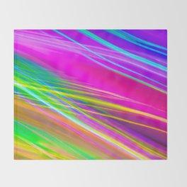 neon saturn waves Throw Blanket