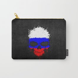Flag of Russia on a Chaotic Splatter Skull Carry-All Pouch