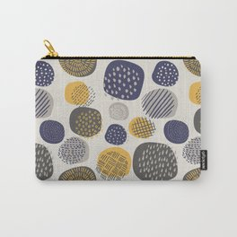 Abstract Circles in Mustard, Charcoal, and Navy Carry-All Pouch