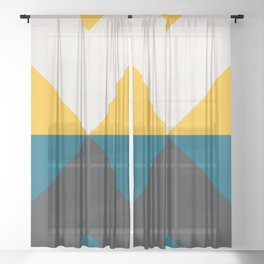 Split X Teal & Yellow Sheer Curtain
